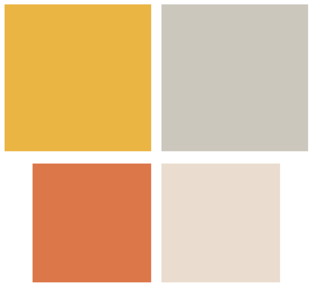 Creating a well-rounded 4-color palette that would apply well to both web and print was the goal. Complementing two bold colors with two softer ones made the palette full.