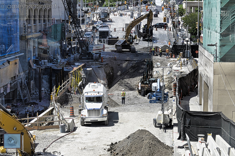 Construction crews repair Rideau Street after a sinkhole tore it apart in the summer of 2016. Photographer @jameshardiment