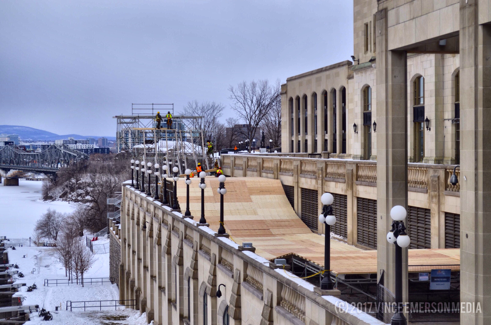 Pictured above construction crews set up the ramps for the event. Athletes will skate between Parliament Hill and the Fairmont Chateau Laurier Hotel.