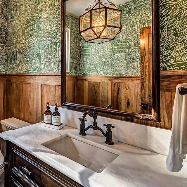 Loving how our planed face barn wood paneling looks in @newoldcustomhomes bathroom!! • • • #copeandstick #reclaimed #repurpose #recycle #upcycle #millwork #metal #steel #art #wood #workflow #design #custom #handmade #supportsmallbusiness #fabrication #fab101 #craftsmen #charlotte #nc #ctl #qc #oak #Vintagelumberyard #handmade #reclaimedwood #beams #designinspo #interiorinspiration