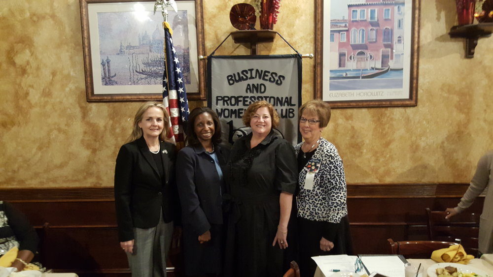 CMC's Woman of the Year recipient, Judge Cheryl Lynne Austin (second from left) with Represenative Madeleine Dean, President Becky Shoulberg and District 11 Director, Joanne Hersh. In 2011, her Honor was the first African American woman judge elected to office in Montgomery County. Dozens of colleagues spoke so highly of Cheryl, her kidness, dedication and the ability to foster a harmonious  work enviorment. Cheryl spoke about how she could not have achieved her success without family, peers and the mentorship and support she could always count on from BPW. She is our favorite glass ceiling smasher!