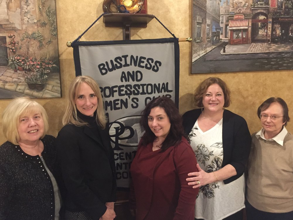 During their January meeting at Pepper's in King of Prussia , Noreen Morello (left) inducted two new members to Central Montgomery County Business and Professional Women (center) Deborah Kuntz MacDonald and Maria Mastrosante. President, Becky Shoulberg and Vice President, Cheryl Decoteaux spoke about the club and the benefits of joining The Voice of Working Women in their 90th year