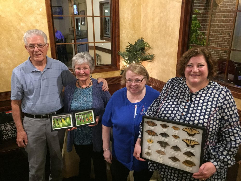 In honor of Earth Day, Central Montgomery County Business and Professional Women welcomed (from left) Dave and Audrey Harding of Marvelous Monarch Butterflies. Past State BPW President, Nancy Werner hosted the evening (center) and is shown with CMC President, Becky Shoulberg. Monarchs travel all the way to Mexico and back to the Northern states each year. Guided by the magnectic pull of surface minerals, millions make this journey and only a few survive the round trip. Learn more about the Monarch Sanctuary in Souderton at: https://marvelousmonarchs.wikispaces.com/Home+Page  and CMC BPW:  centralmontgomerycountybpw.org .