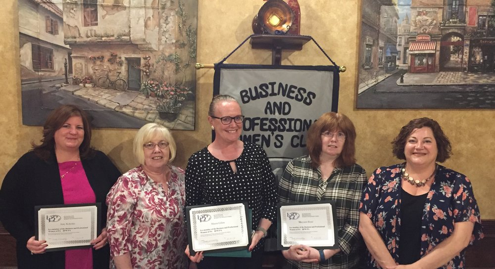 At our September kickoff to our 90th year, Treasurer, Noreen Morello and President, Becky Shoulberg welcomed CMC newbies. Holding their new member certificates (left to right) are Amy Kokoles, Mo Gillen and Maryann Buser. Welcome to BPW!