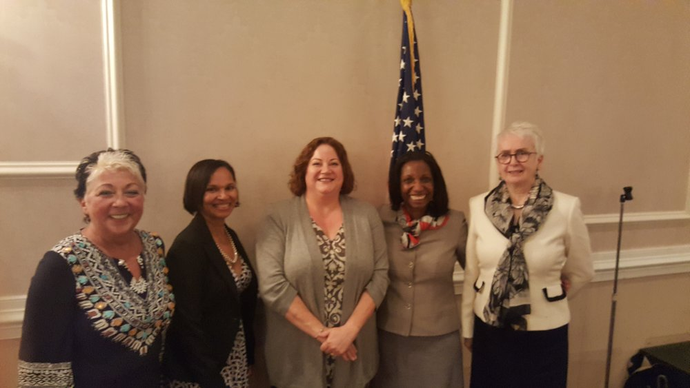 December 6. Montgomery County Foundation founder, Virginia Frantz (right)  hosted  their annual womencentric conference at The Presidential. CMC member, Judge Cheryl L. Austin, (next to Virginia) is recipient of the Woman of Distinction award. Cheryl's message echoed BPW values: surrond yourself with supporters and ask for help. Barbara Jean Maresca (left) is on the stellar planning committee and CMC members VP Sue Soriano and President Becky Shoulberg also attended.