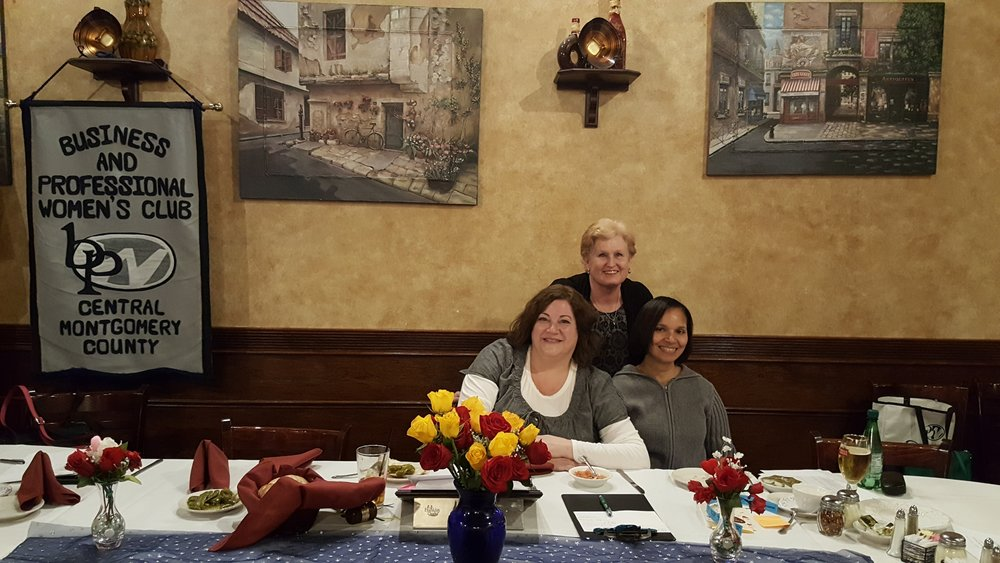 Colleen Keller (standing), of Norristown's Dragon Boat Racing Club,  was invited to speak at Central Montgomery County Business and Professional Women's February meeting. Vice President, Sue Soriano (seated right) and CMC President, Becky Shoulberg create programs that focus on local resources and gems. The Dragon's, based at Riverfront Park, provide many oppurtunities for youths and adults to enjoy the camaraderie and confidence that comes with participating in this ancient Chinese water sport. Learn more about each club on their Facebook pages and websites.