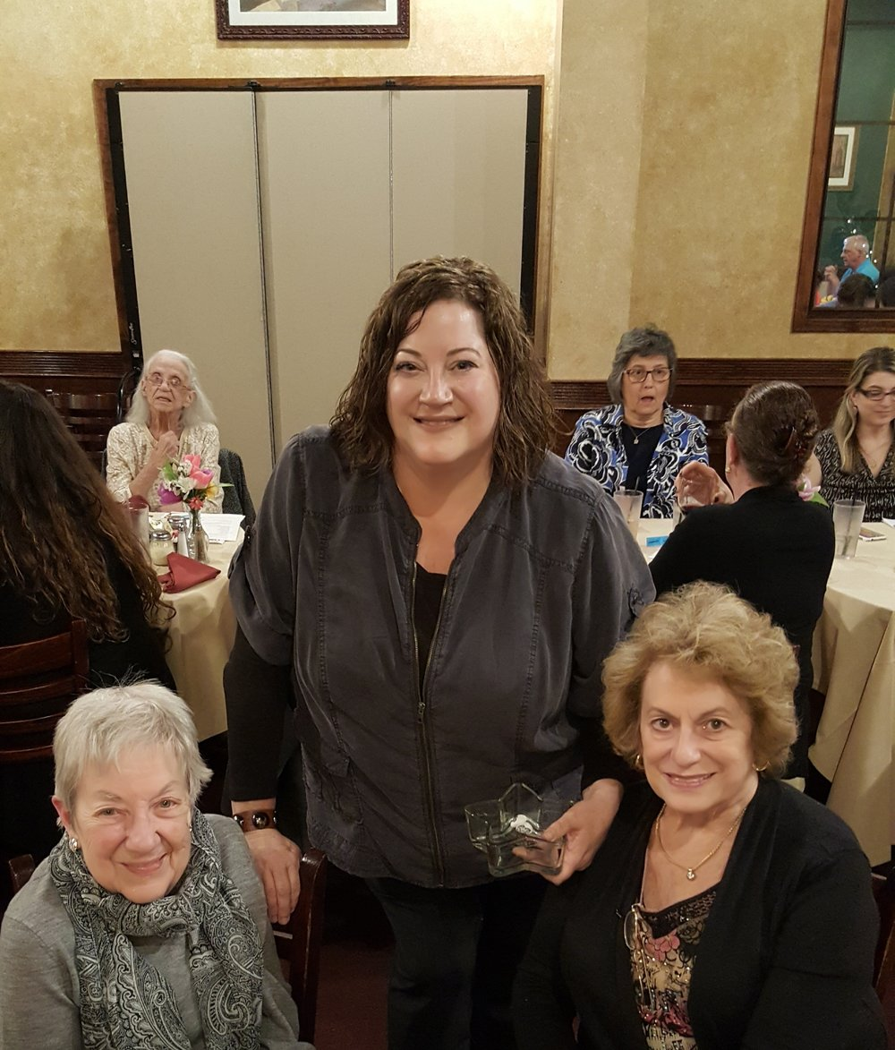Rockstars of the month get rock candy and mini Nike statues. The winged goddess of victory is BPW's national symbol since 1919. President Becky Shoulberg gives the awards to her mom,  Molly Shoulberg (right) and her Aunt Barbara Cressman. The sisters grew up on Forrest Avenue accross from Selma Mansion.