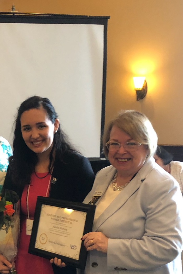 Alexis Werner won the speak off for Young Careerist at Spring District 11 Board meeting at Maggiano's. Past BPW PA President, Nancy Werner ( no relation, lol) was her Individual Development class instructor. Way to go! Another friend we met at Cranaleith Sanctuary.