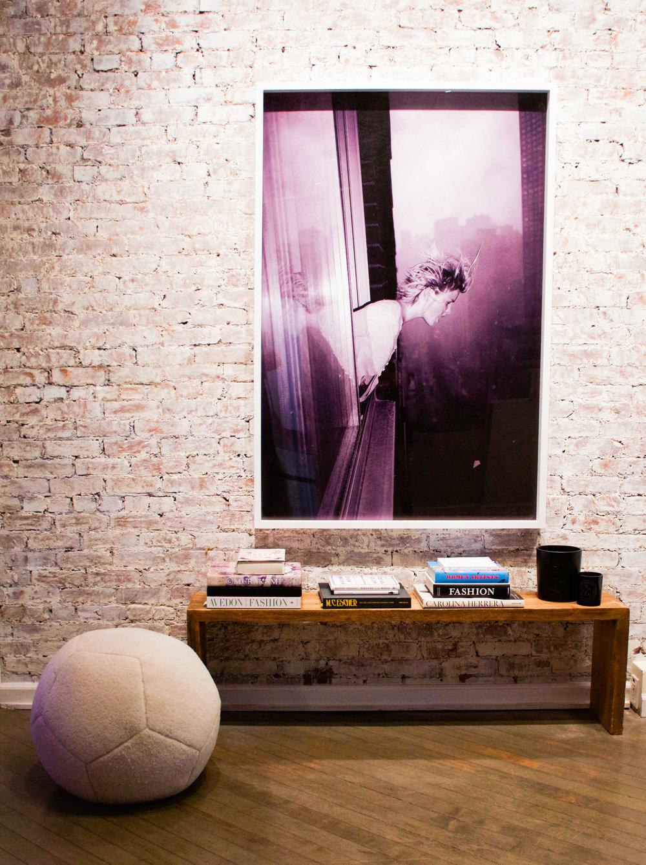 Absolut Art Vodka Interior Design Ottoman Decor Shearling Fashion Avedon women artists Murakami New York city ny Manhattan brooklyn loft decor seating chair pouf soccer football ball home nicole watts living room Escher