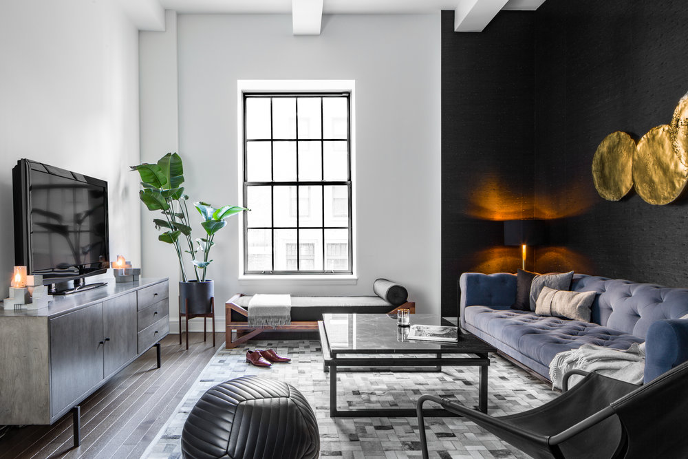 Banded Queen Ottoman  in Black leather : Nicole Watts for Homepolish - Chelsea Loft | Photo: Sean Litchfield