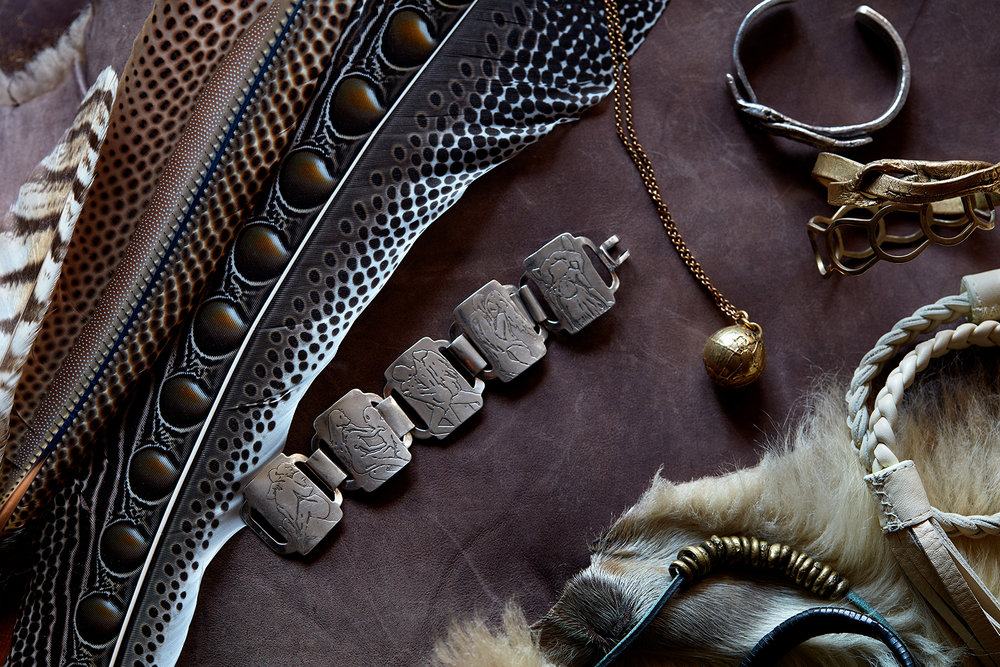 leather metal cuff bracelet necklace bangle unisex globe sports illustrated swimsuit lara Kurtzman jewelry Bali Josephine Rozman jo borneo feathers African brass Kelacalaq