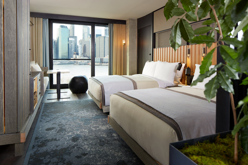 Ball Ottoman in Distressed Black Leather : 1 Hotel Brooklyn Bridge | Photo: James Baigrie
