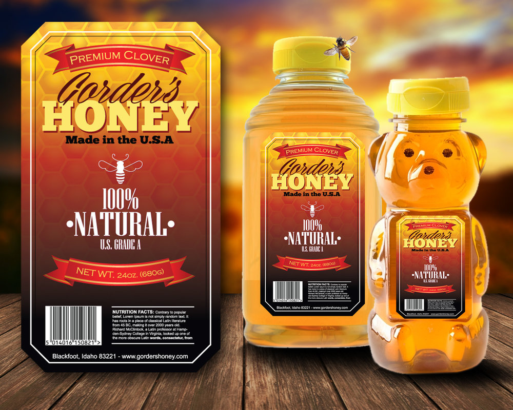 Graphic Design of a honey Label for Gorder's Honey in Blackfoot ID