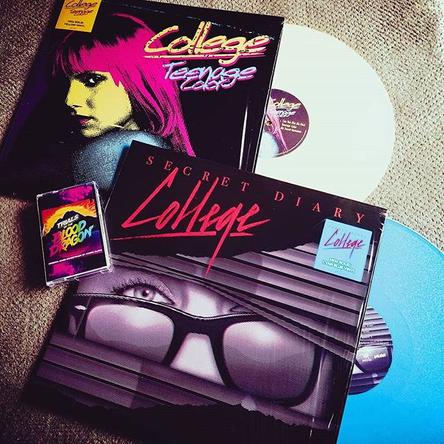 Epic #synthwave mail day! 2 of the @collegevalerie vinyls that I've been wanting for the past 5 years, and the soundtrack #cassette for #trialsofblooddragon with kickass designs by @signalnoise. Thanks @invadarecords.