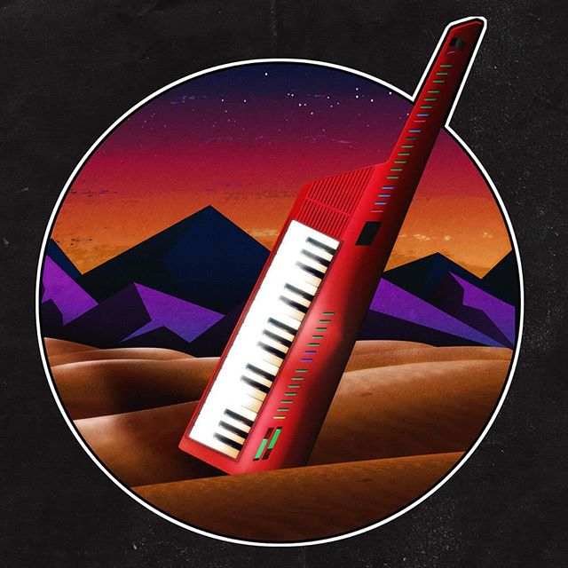 Personal piece I designed this afternoon. Took inspiration from the work of @signalnoise. Hope you guys like it. Maybe I'll do a set of stickers or something :-) #synthwave #80sinspired #retroinspired #newretro #keytar #adobeillustrator