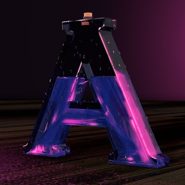 Here is my participation attempt at @36daysoftype. Today A is for Alcohol, because sometimes you just need to unwind. This is a cool little bottle rendered in #C4D.  #36daysoftype #36days_a #graphicdesign #3drender #c4drender #synthwave #synthwaveart