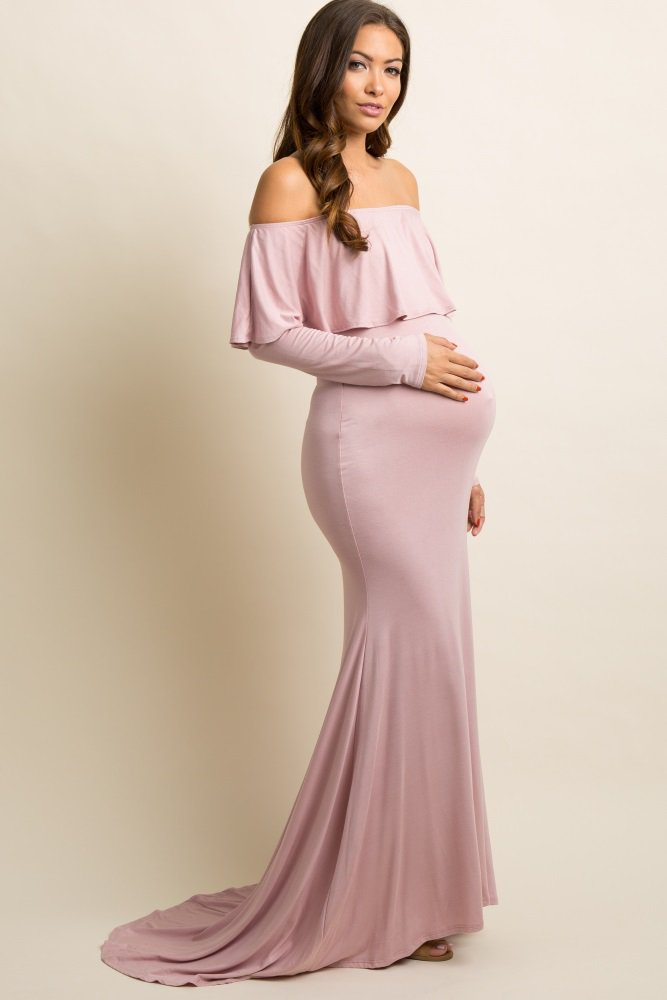 343a16087b5 Mauve Off Shoulder Ruffle Maternity Photoshoot Gown Dress