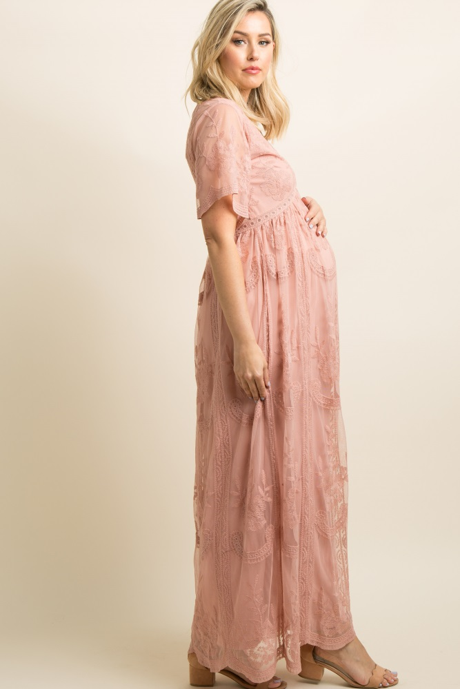 cf972773bb Lace Mesh Overlay Maternity Maxi Dress (CLICK HERE)