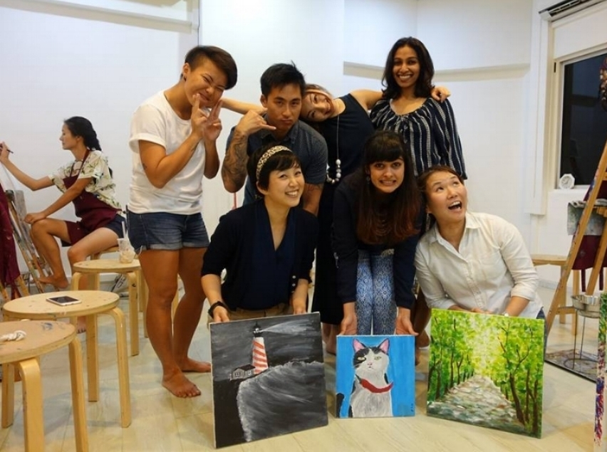 Kai, Erica, Prerana & Vino hosted a donation art class