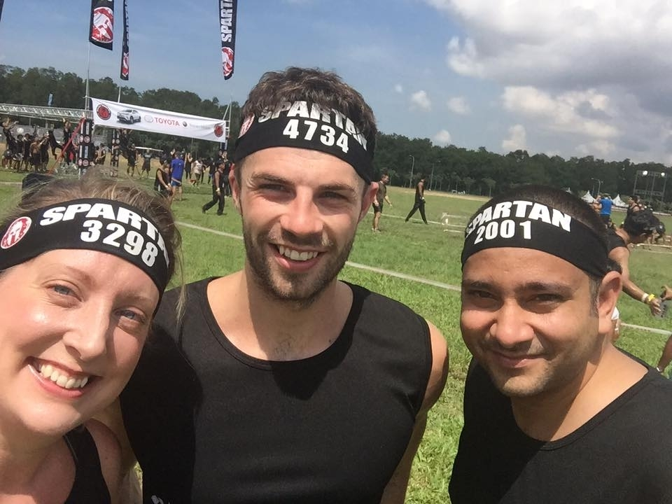 Karen completed an obstacle course with friends