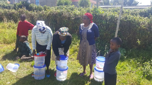 Beth and her team making water filters
