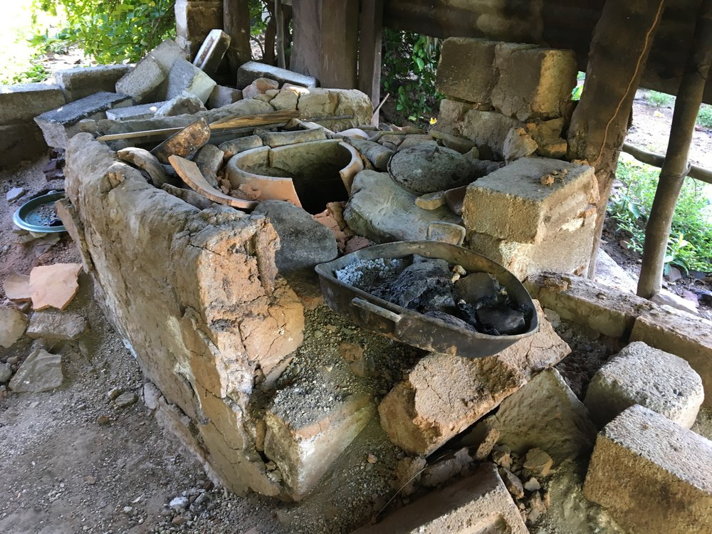 A destroyed traditional kitchen