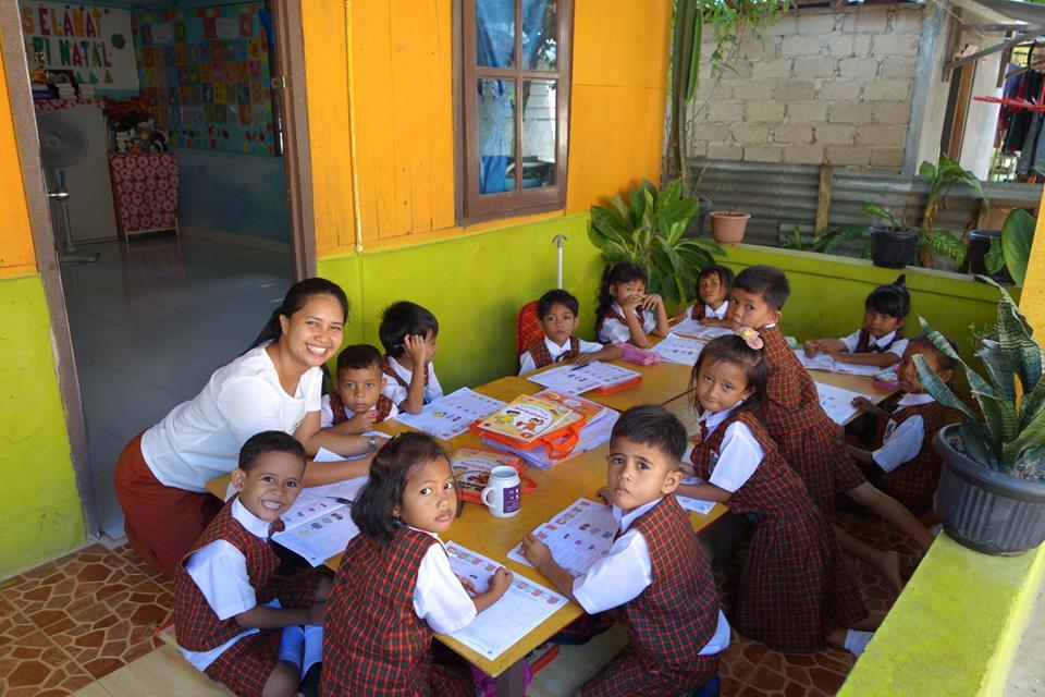 Children learning at the school Karen fundraised for