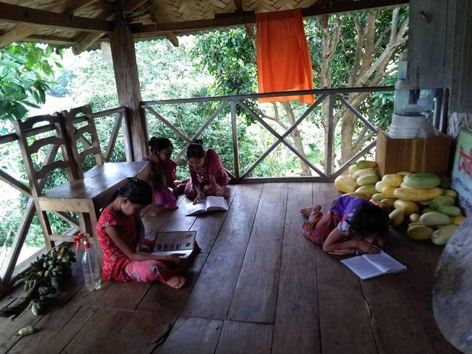 Girls enjoying their reading time