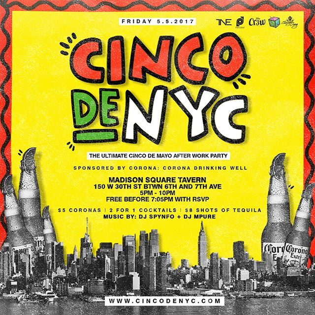 Mark your calendars. [ #ParadimeNYC ] NYC's BIGGEST CINCO de MAYO AFTER WORK PARTY for FIVE YEARS! #CINCOdeNYC starts at 5PM with  DRINK and FOOD SPECIALS THROUGHOUT #ParadimeNYC @paradimeonline If you are celebrating your bday in May, DM me for special promotion.