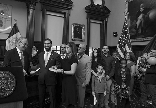 After serving 2 years in the NYS Assembly, Rafael at 29 was sworn to the NYC Council by U.S. Senator Chuck Schumer, alongside his siblings & extended family