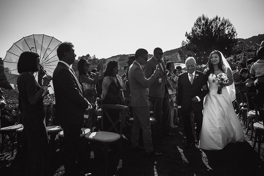 bride walking aisle california saddlerock wedding