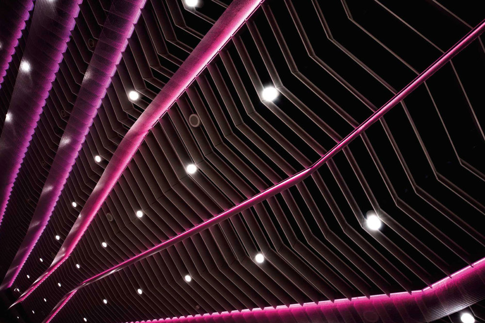Greater Columbus Convention Center ceiling feature with lighting effects