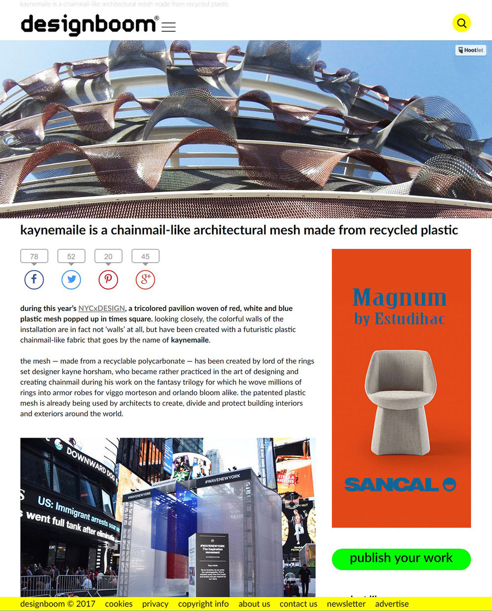 Kaynemaile is a chainmail-like architectural mesh made from recyclable plastic