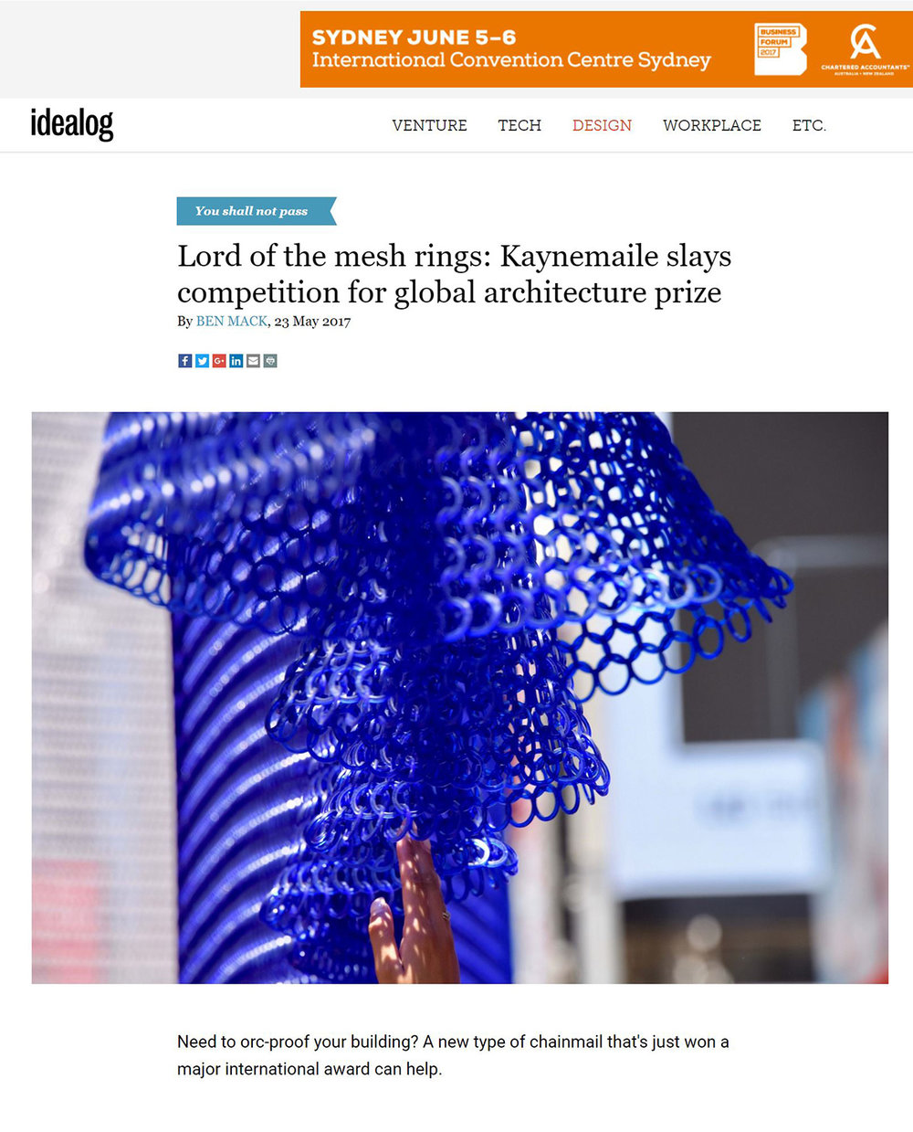 Lord of the mesh rings Kaynemaile slays competition for global architecture prize