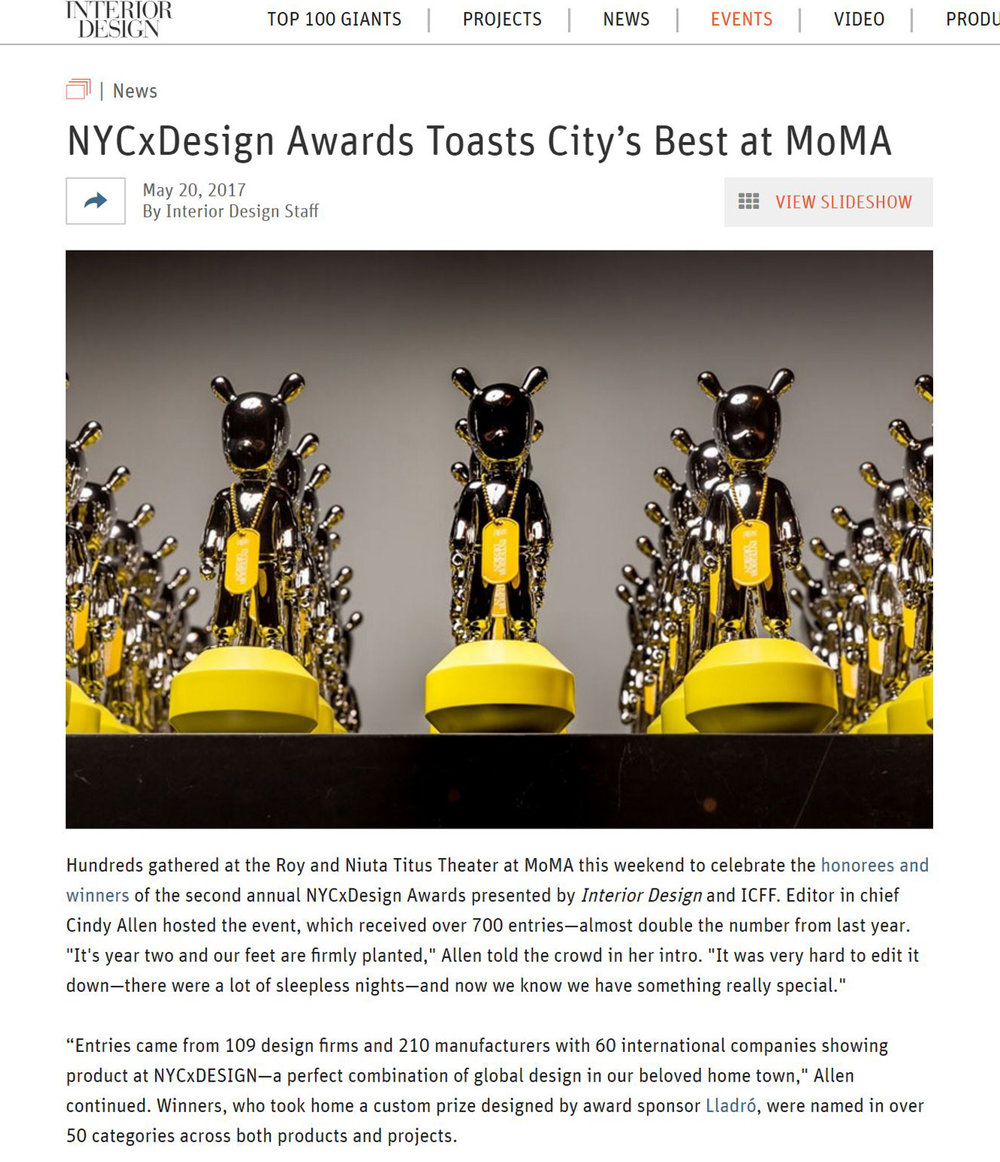 Interior Design NYCxDesign Awards Kaynemaile Product of the Year 2017