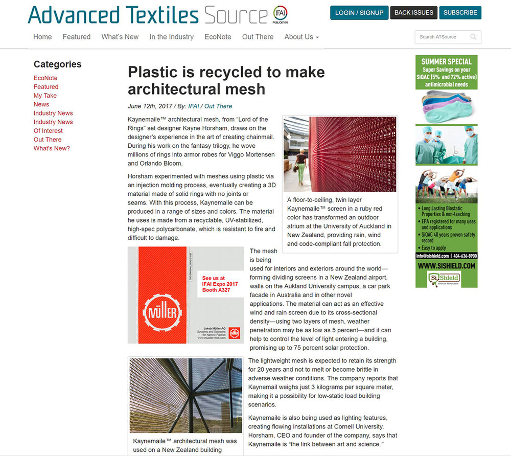 Kaynemaile Featured in Advanced Textiles Source
