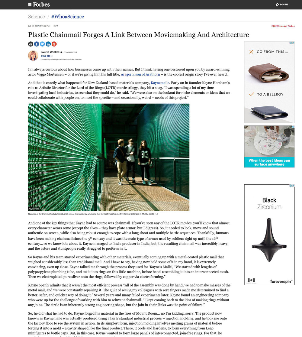 Kaynemaile in Forbes Plastic Chainmail Forges A Link Between Moviemaking And Architecture