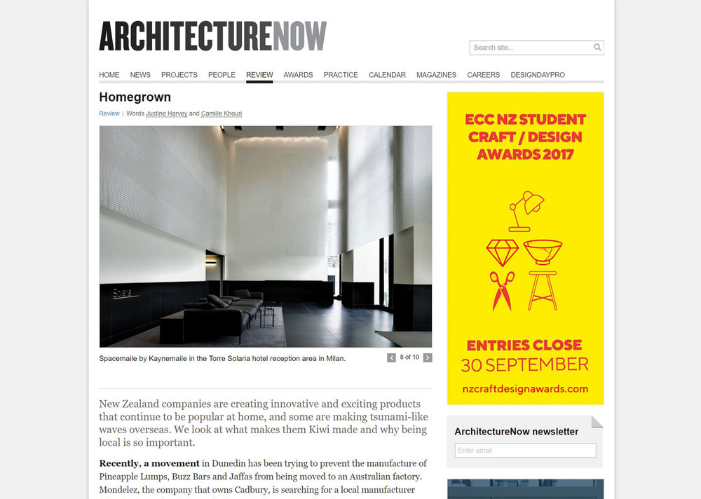 Kaynemaile Architecture Now feature Homegrown companies global reach