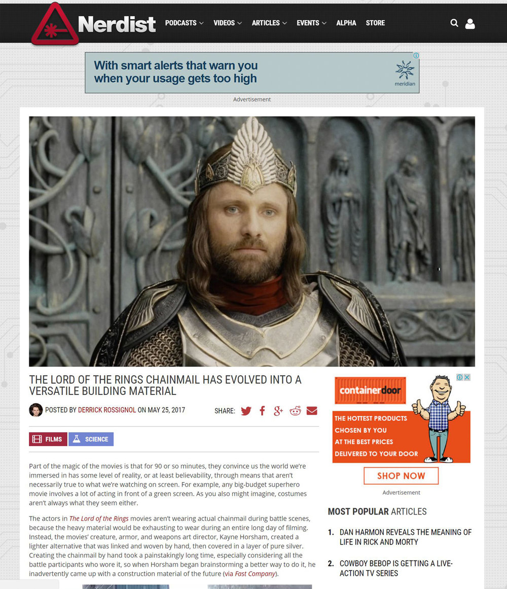 Kaynemaile on Nerdist LoTR chainmail has evolved into versatile building material