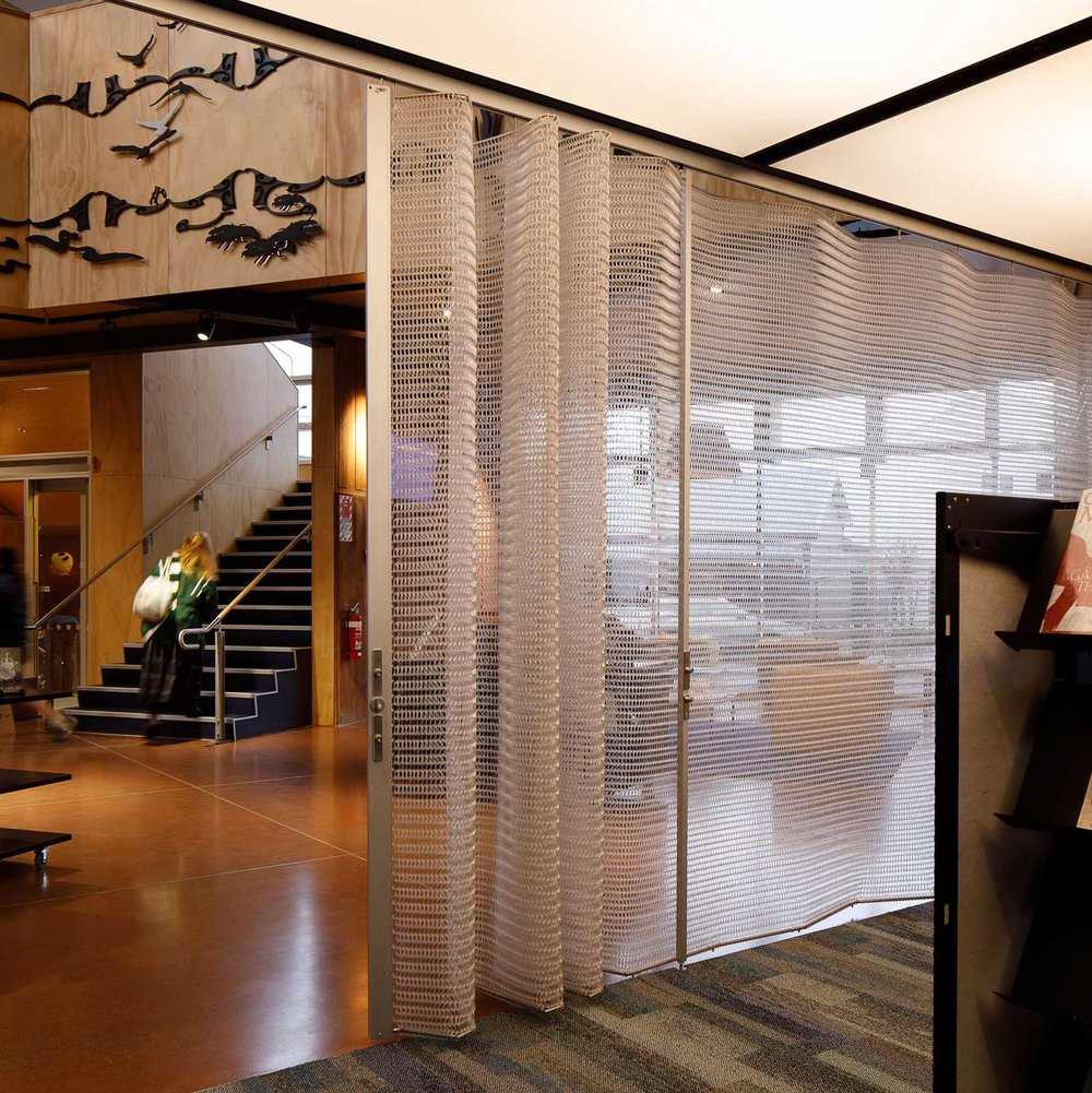 Folding Screens   Spacemaile Folding Screens are an operable system ideal for creating functional separation and visual privacy while maintaining an open plan atmosphere. We have two systems—Decorative and Deterrent.