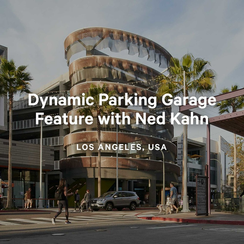 Kaynemaile-Armour kinetic parking garage facade with Ned Kahn Los Angeles