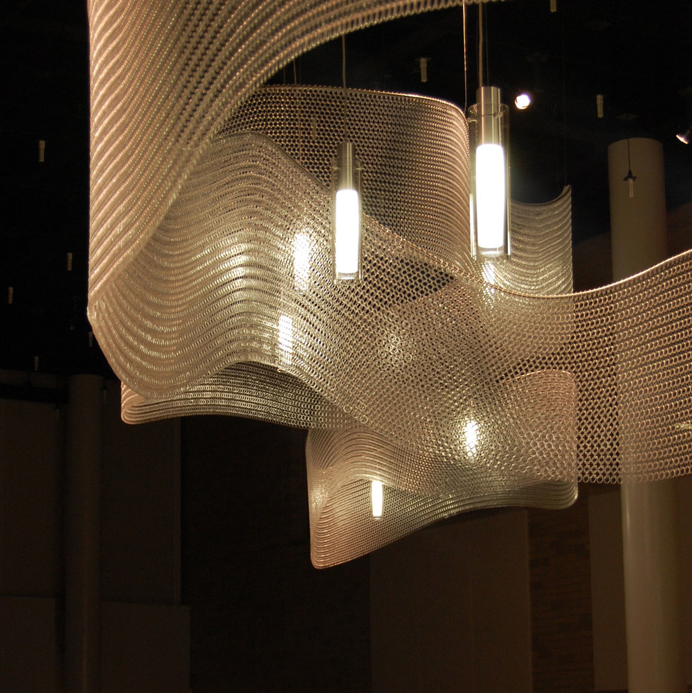 Lighting   Kaynemaile mesh can be used for beautiful lighting features and chandeliers. Kaynemaile lighting features are an eye-catching and cost effective way to elevate your interior projects.