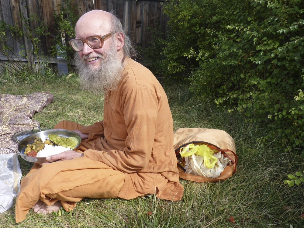 Swami enjoys the fruits of his labor!