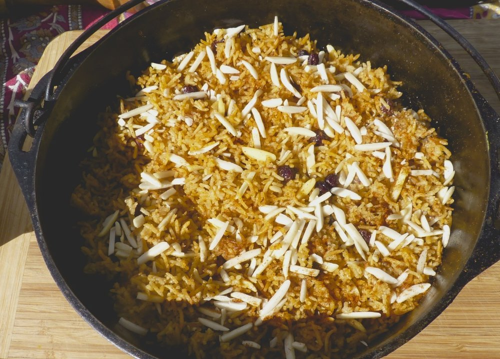 Moroccan rice pilaf garnished with slivered almonds.
