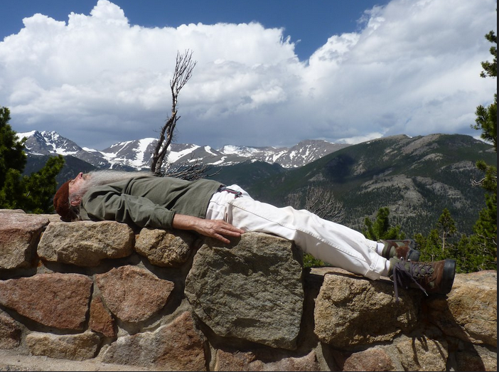 Sadananda doing  nature therapy in Rocky Mountain National Park