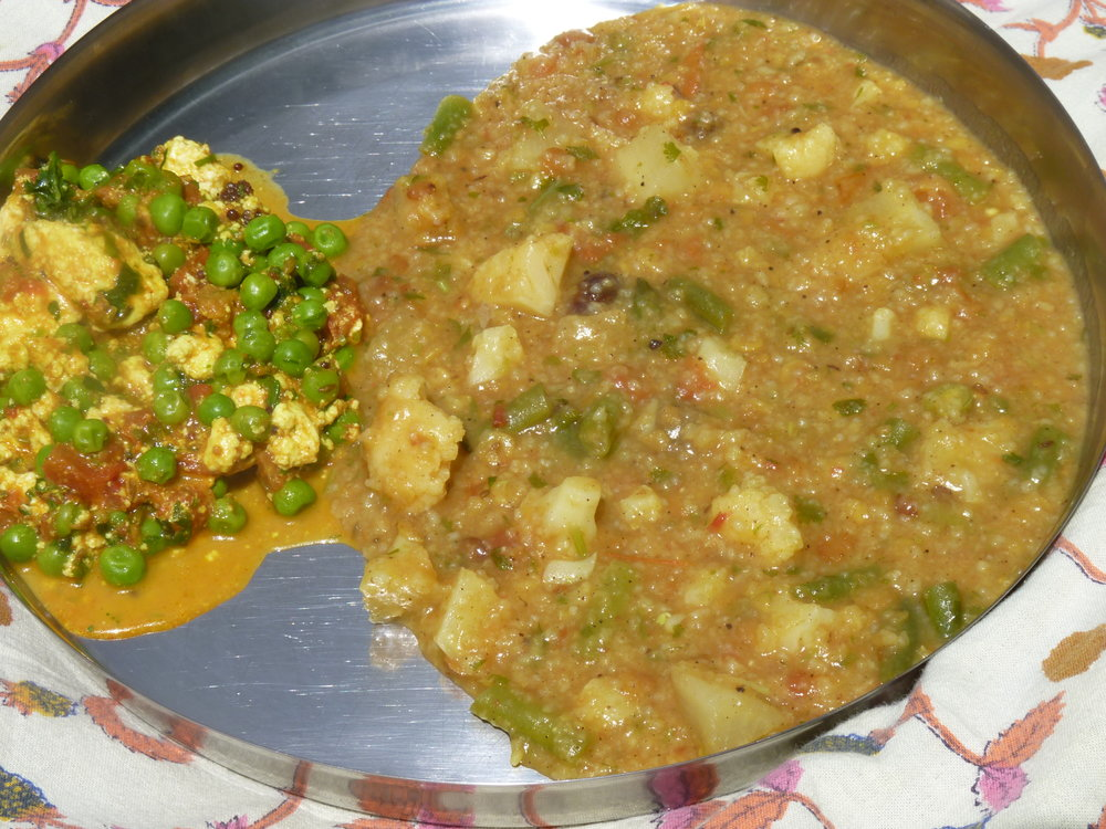 Matar Paneer with Toor Dal Kitcheri.