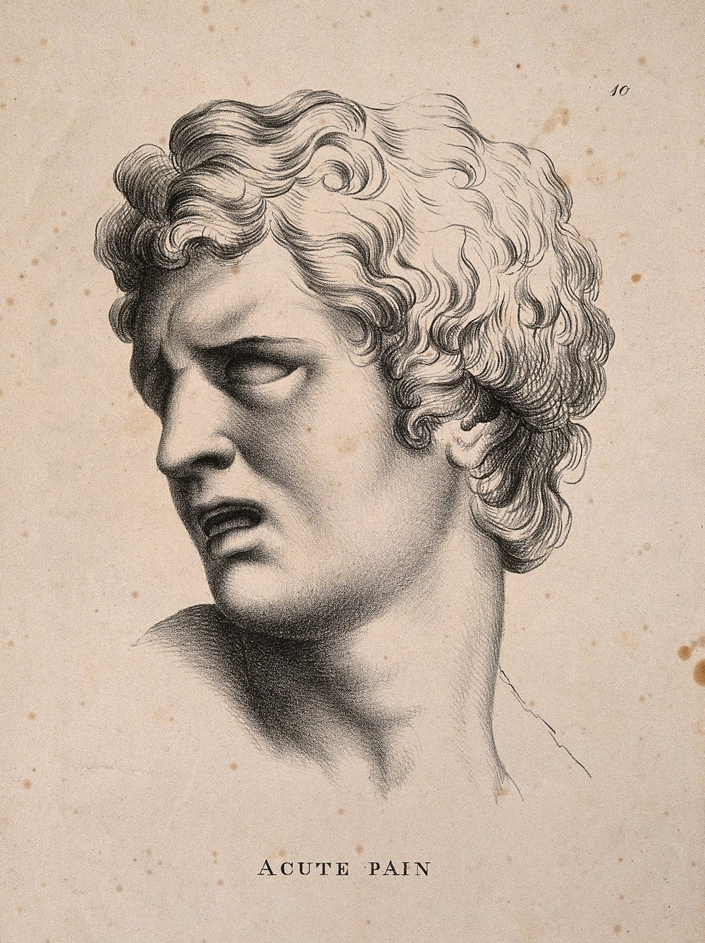 A face turned away, suffering acute pain. Lithograph by P. Simonau, 1822, after C. Le Brun.