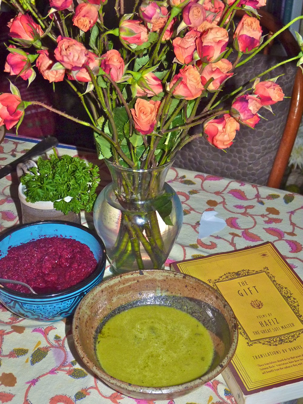 Green pea and asparagus soup, beet maror, karpas and of course, Hafiz!