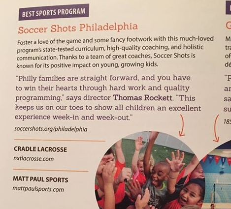 Voted One of Best Sports Programs Philadelphia Family Magazine 2017 -