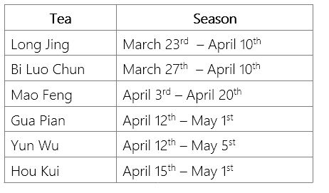 The Green Tea Picking Seasons and Dates